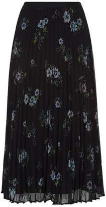 Claudie Pierlot Floral Pleated Midi Skirt