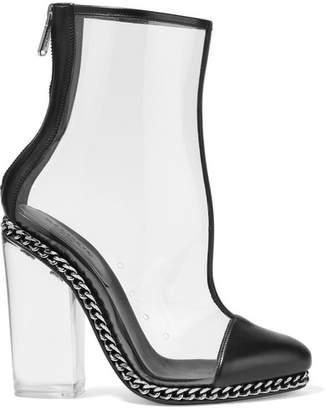 Balmain Embellished Leather-trimmed Pvc Ankle Boots - Black