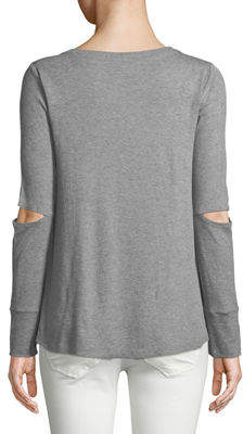 Neiman Marcus Long-Sleeve Elbow-Cutout Tee