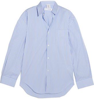 Vetements - Comme Des Garçons Oversized Striped Cotton-poplin Shirt - Blue $765 thestylecure.com