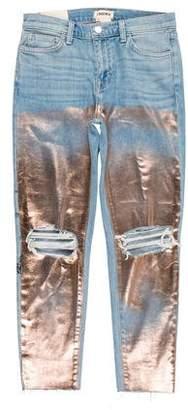 L'Agence Metallic Mid-Rise Skinny Jeans