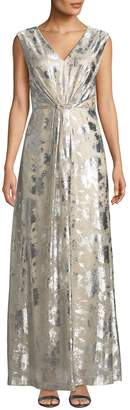 Tahari ASL Metallic-Foil Gown with Diamond-Embellished Clasp