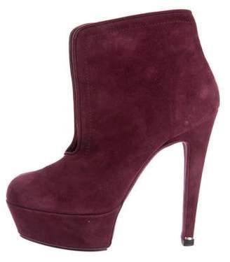 Halston Suede Platform Ankle Boots