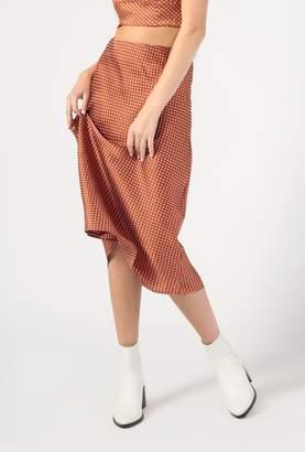 Azalea Polka Dot Satin Midi Skirt