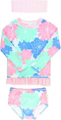 RuffleButts Pastel Petals Two-Piece Rashguard Swimsuit & Head Wrap Set