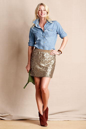 Lands' End Canvas Women's Sequin Mini Skirt