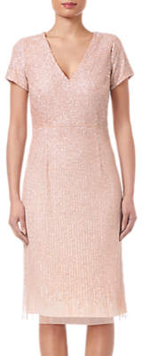 Adrianna Papell Shell Beaded Short Dress, Shell