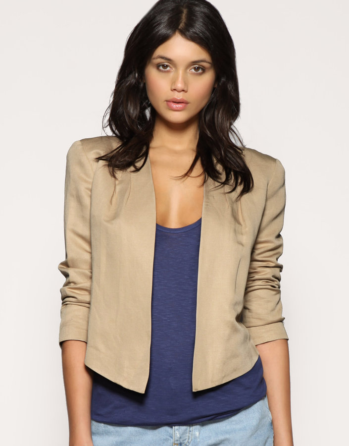 ASOS Tailored Cropped Pleat Shoulder Blazer