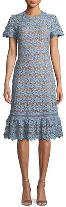 MICHAEL Michael Kors Mixed-Lace Short-Sleeve Dress