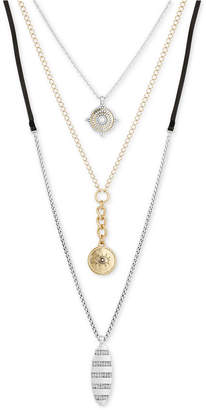 """Lucky Brand Two-Tone Crystal Evil Eye & Leather Cord 18"""" Triple-Layer Necklace"""