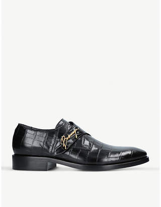 Balenciaga Mens Black Logo-Detail Croc-Embossed Leather Monk Shoes