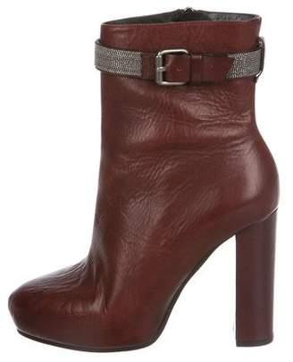 Brunello Cucinelli Leather Monili Ankle Boots
