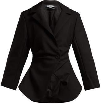 Jacquemus Saad Gathered Wool Blazer - Womens - Black
