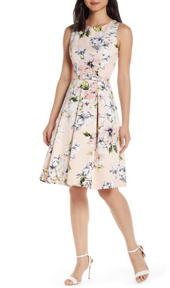Eliza J Floral Faille Fit & Flare Dress