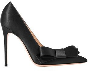 Gianvito Rossi Kyoto 100 Bow-embellished Satin Pumps