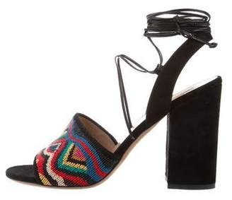 Valentino Beaded Lace-Up Sandals