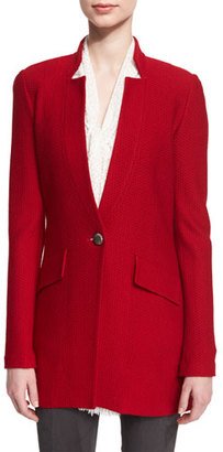St. John Collection Honeycomb-Knit One-Button Jacket, Russian Red $1,495 thestylecure.com
