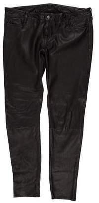 AllSaints Leather Mid-Rise Straight Pants