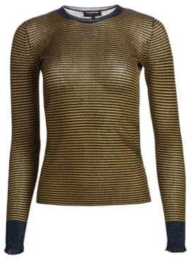 Rag & Bone Raina Lurex Striped Crewneck Sweater