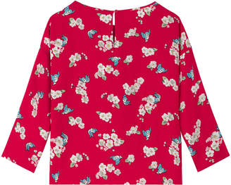 Cath Kidston Snow White Little Scattered Blossom Dropped Shoulder Woven T Shirt