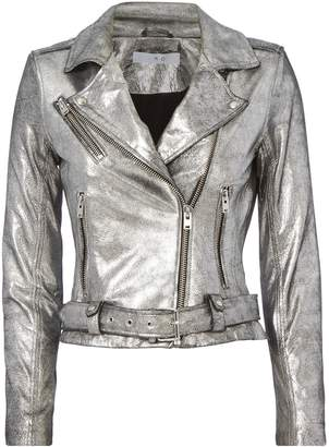 IRO Brooklyn Silver Leather Moto Jacket