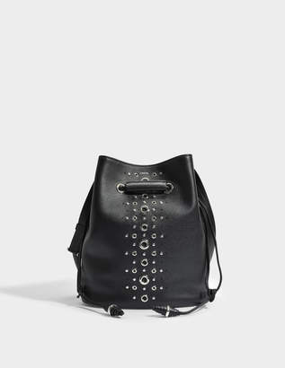 Lancel Le Huit L Bucket Bag with Eyelets in Black Grained Leather
