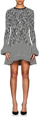 Esteban Cortazar Women's Zebra- & Chevron-Pattern Compact Knot Minidress - Ecru, Blk