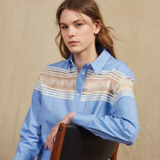 Sandro Striped Shirt With Lace Inset