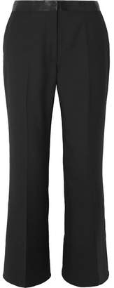 Elizabeth and James Mira Cropped Satin-trimmed Twill Flared Pants - Black