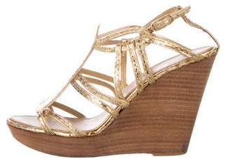 Chanel Metallic Snakeskin Wedge Sandals