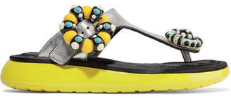 Marc Jacobs Mabel Embellished Metallic Textured-leather And Rubber Sandals - Silver