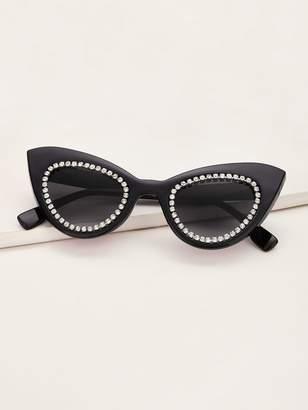 Shein Rhinestone Engraved Cat Eye Sunglasses