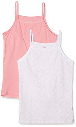 Name It Girl's Nkfstrap Top 2p Geranium Pink Noos Vest, Multicolour (Rosa, (Pack of 2)