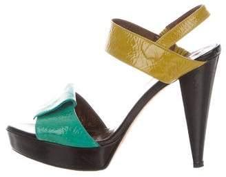 Tibi Slingback Patent Leather Sandals