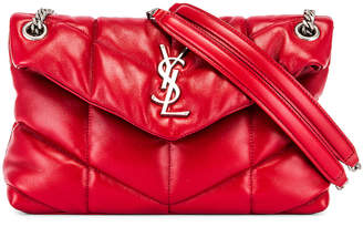 Saint Laurent Small Monogramme Puffer Loulou Shoulder Bag in Red   FWRD