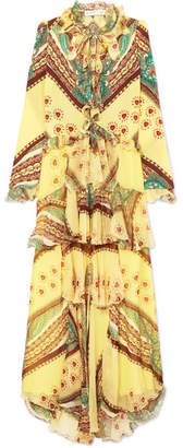Etro Ruffled Printed Silk-crepon And Crepe De Chine Maxi Dress - Yellow