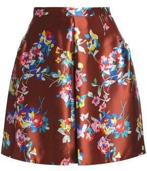 DELPOZO Floral-Print Silk-Still Mini Skirt