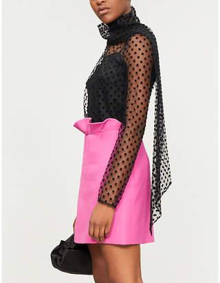 Erdem Yvonna polka dot-pattern mesh top