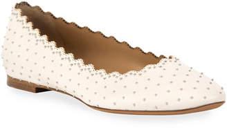 Chloé Lauren Scalloped Ballet Flats with Silver Studs