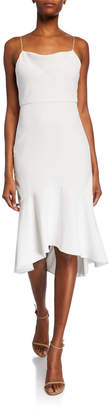 Alice + Olivia Adrina Cowl-Neck Spaghetti-Strap High-Low Midi Dress