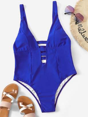 Shein Plus Ladder Cut-out Caged Back One Piece Swimwear