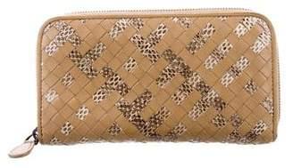 Bottega Veneta Snakeskin & Intrecciato Wallet