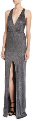 Halston Metallic Knit Halter Gown w/ Strappy Back