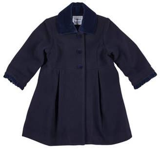 Florence Eiseman Wool-Blend Velvet-Trim Coat, Size 2-6X