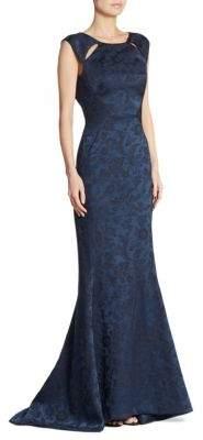 Zac Posen Floral-Print Cutout Gown