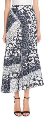 Victoria Beckham High-Waist A-Line Leopard-Print Silk Midi Skirt