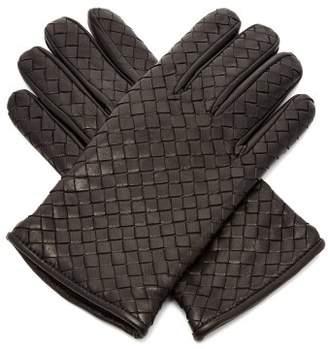 Bottega Veneta - Intrecciato Leather Gloves - Mens - Black
