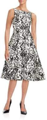 Adrianna Papell Damask Fit-and-Flare Dress