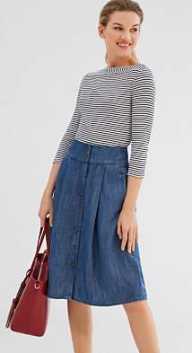 Esprit Flowing denim-look midi skirt