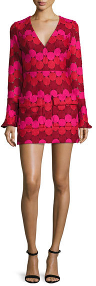 Alexis Alexis Annelise Bell-Sleeve Embroidered-Dot Minidress, Aurora